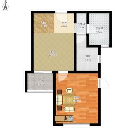 保利海上五月花1室1厅1卫1厨62.00㎡户型图