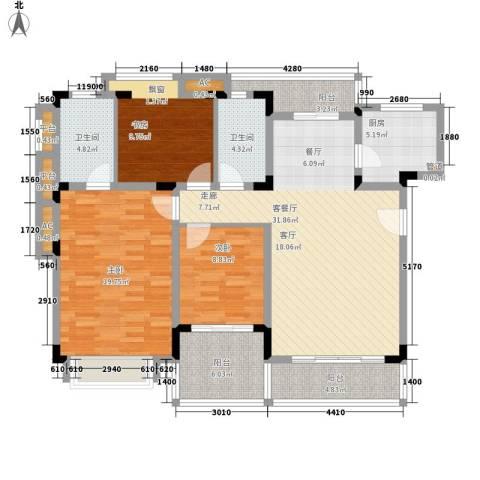 同景国际城恋山3室1厅2卫1厨100.40㎡户型图