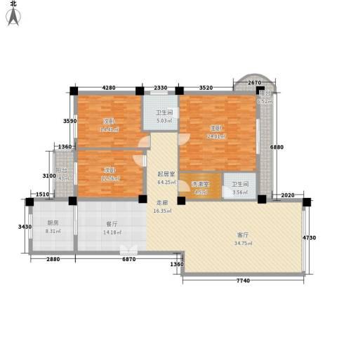 秋涛阁3室0厅2卫1厨163.00㎡户型图