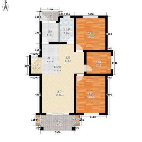 四季阳光3室0厅1卫1厨106.00㎡户型图