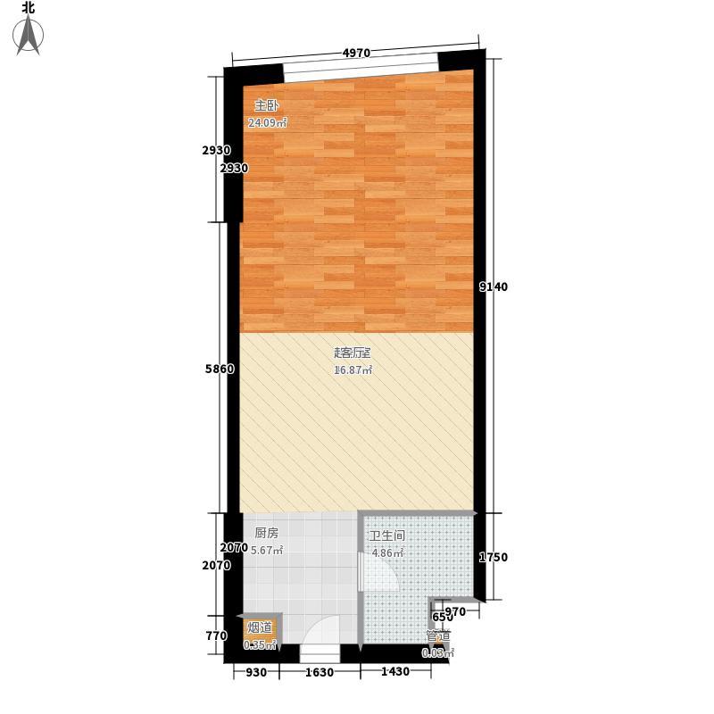 海泰国际公寓58.64㎡高层标准层23户型