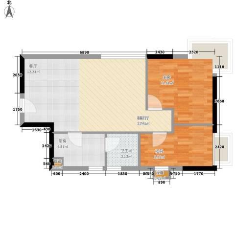 怡乐花园2室1厅1卫1厨62.48㎡户型图