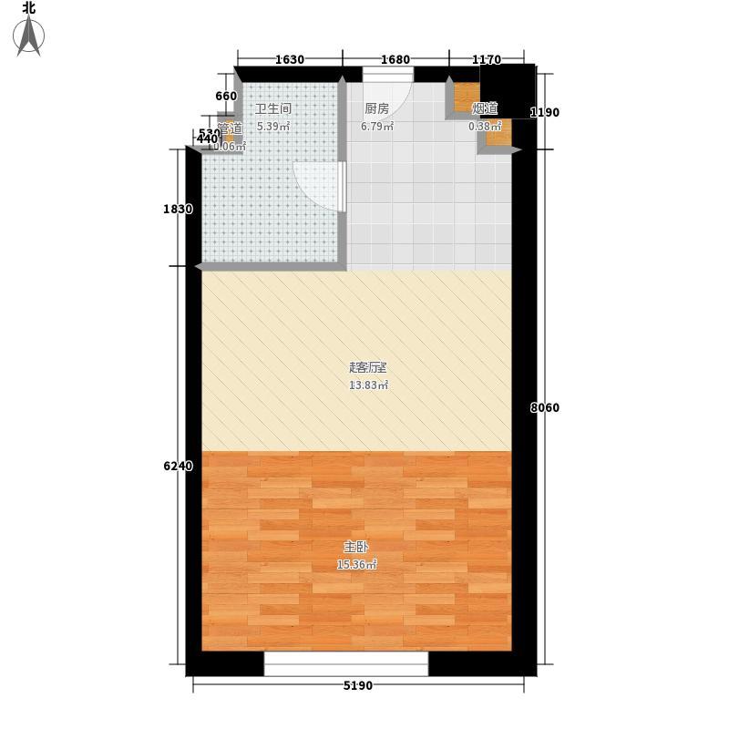 海泰国际公寓48.59㎡高层标准层18户型