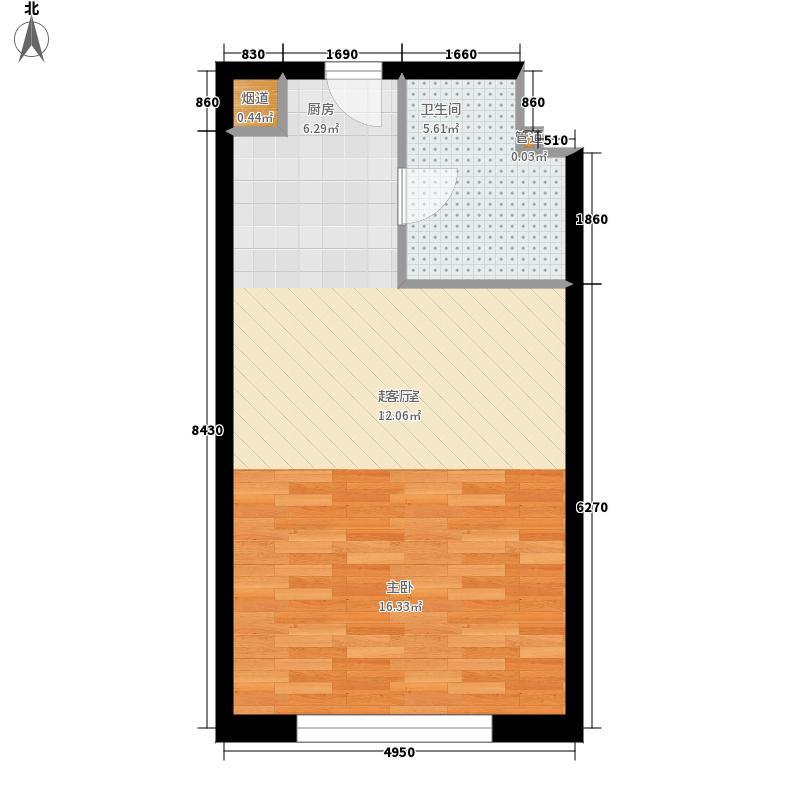 海泰国际公寓46.36㎡高层标准层17户型