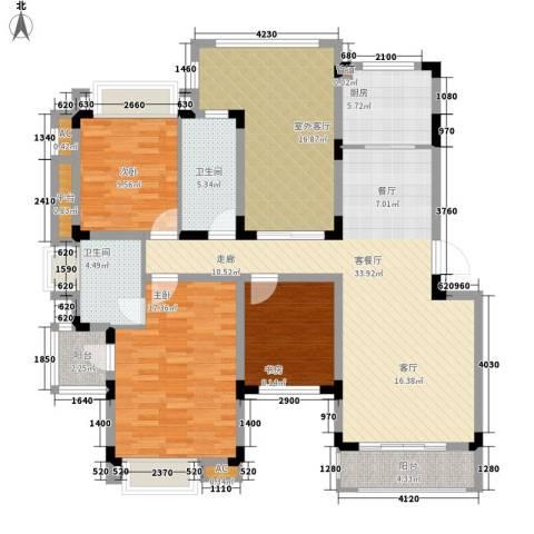 同景国际城恋山3室1厅2卫1厨109.59㎡户型图
