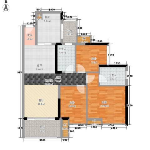 中海橡园国际3室0厅2卫1厨98.00㎡户型图