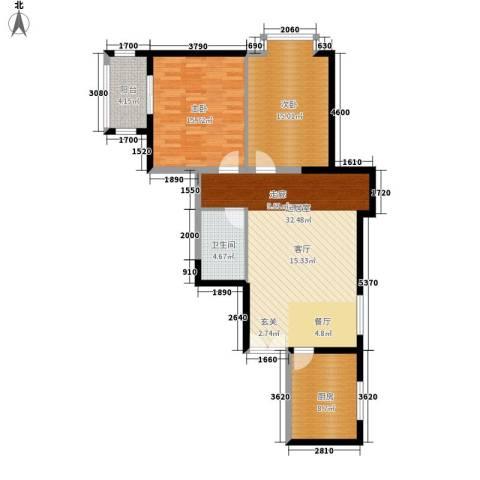 曲江澜山2室0厅1卫1厨91.00㎡户型图