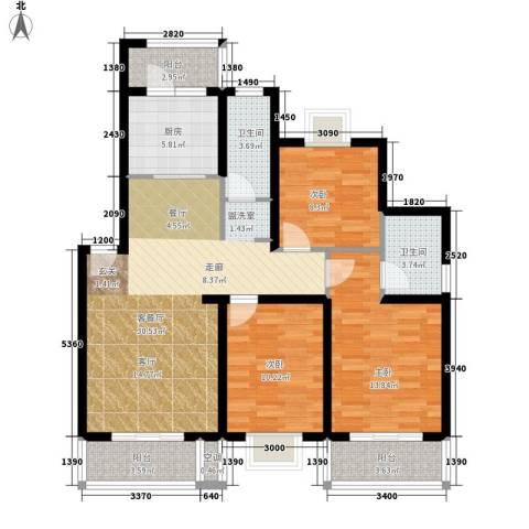天兴都市花园3室1厅2卫1厨101.00㎡户型图