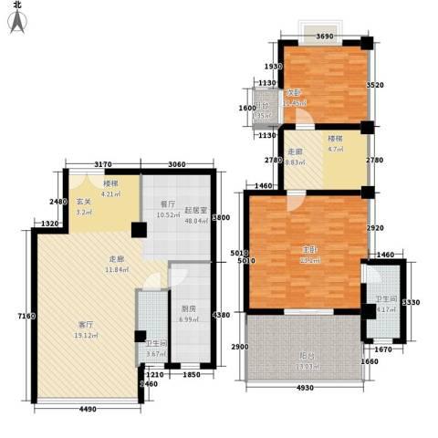 秋涛阁2室0厅2卫1厨135.31㎡户型图