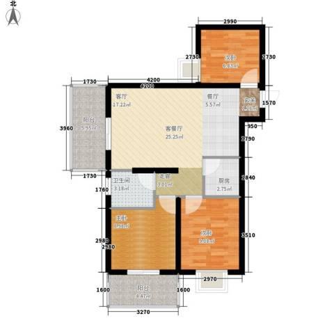 水岸东城3室1厅1卫1厨97.00㎡户型图
