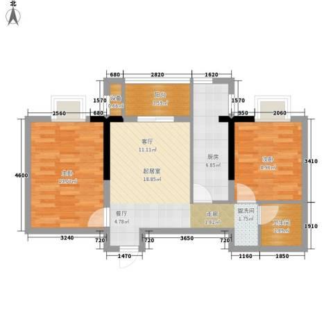 水岸东城2室0厅1卫1厨78.00㎡户型图