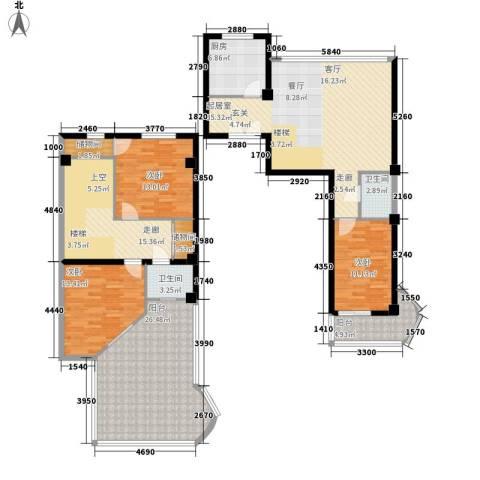 秋涛阁3室0厅2卫1厨153.22㎡户型图
