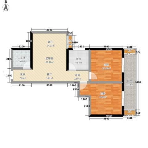 嘉祥世家2室0厅1卫1厨90.00㎡户型图