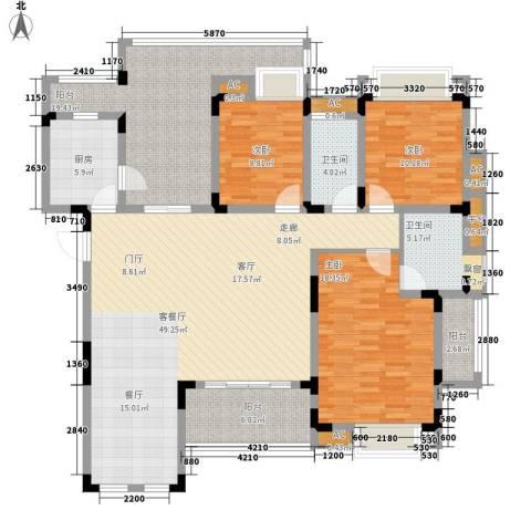 同景国际城恋山3室1厅2卫1厨132.98㎡户型图