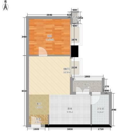 嘉汇华庭居尚1室1厅1卫0厨53.00㎡户型图