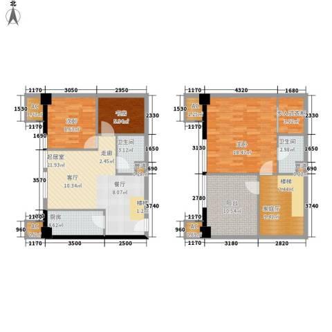 橙仕空间3室0厅2卫1厨93.26㎡户型图