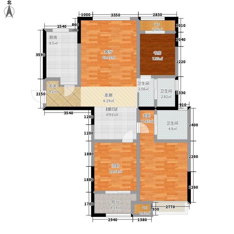 金新御园118.00㎡户型3室2厅