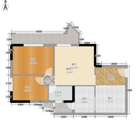 珠江怡景湾2室1厅1卫1厨86.00㎡户型图