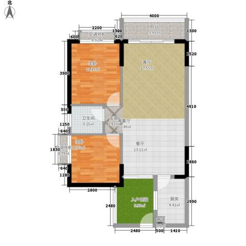 珠江怡景湾2室1厅1卫1厨90.00㎡户型图