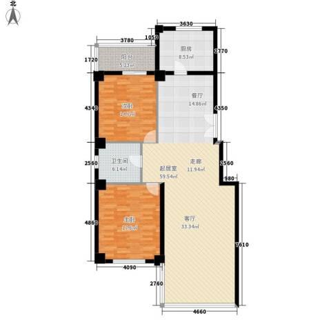 秋涛阁2室0厅1卫1厨124.00㎡户型图