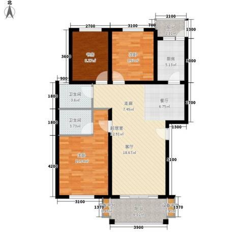 四季阳光3室0厅2卫1厨107.00㎡户型图