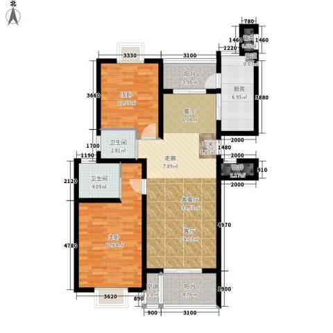 天兴都市花园2室1厅2卫1厨102.00㎡户型图