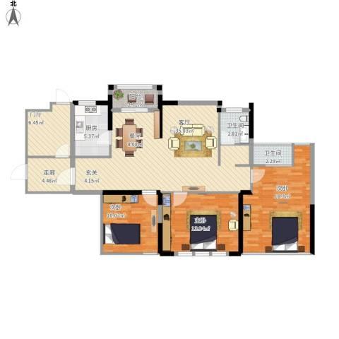 统建天成美雅3室1厅2卫1厨142.00㎡户型图