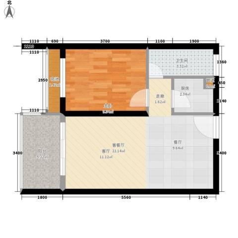 都和广场1室1厅1卫1厨44.08㎡户型图