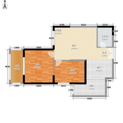 曲江澜山2室0厅1卫1厨93.00㎡户型图