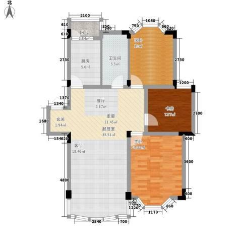 四季华庭3室0厅1卫1厨98.00㎡户型图