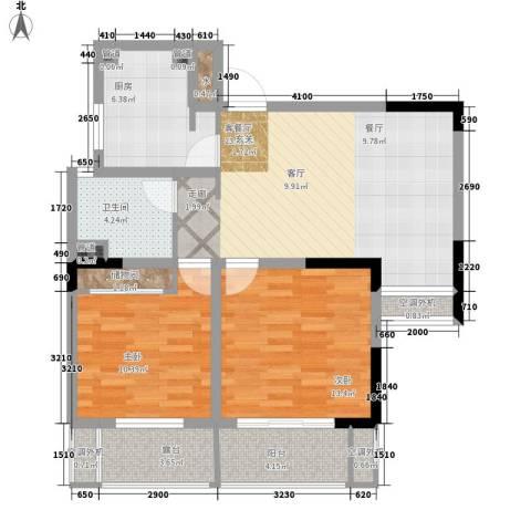 齐河德百玫瑰园2室1厅1卫1厨94.00㎡户型图