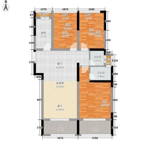 长大彩虹都3室0厅2卫1厨135.00㎡户型图