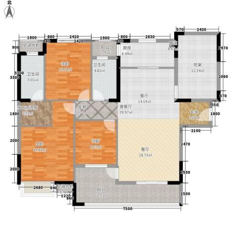 盛地沃尔玛广场3室1厅2卫1厨140.00㎡户型图