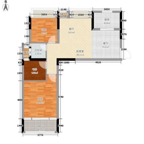 长大彩虹都3室0厅1卫1厨97.00㎡户型图