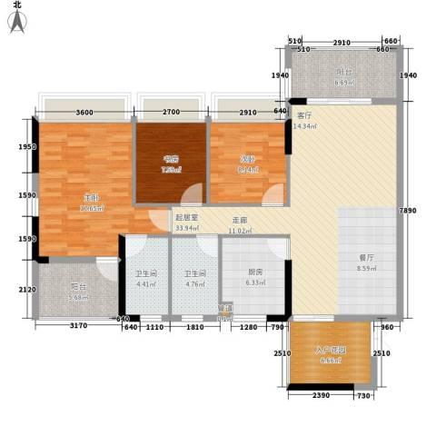 省烟草局宿舍3室0厅2卫1厨106.00㎡户型图