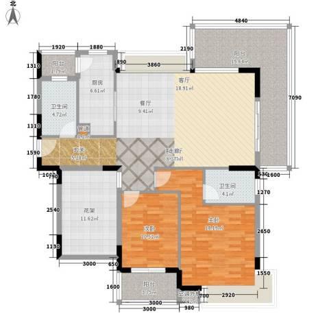 盛地沃尔玛广场2室1厅2卫1厨127.00㎡户型图