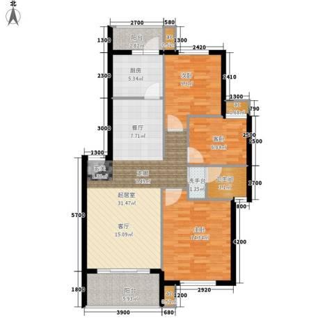 长坡社区3室0厅1卫1厨90.00㎡户型图
