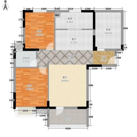 盛地沃尔玛广场2室1厅1卫1厨108.00㎡户型图