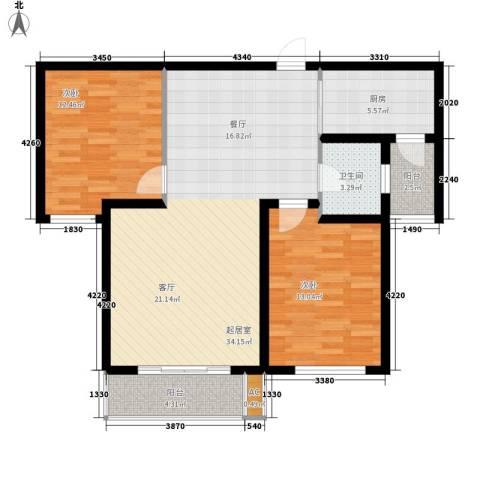 御景阁2室0厅1卫1厨108.00㎡户型图