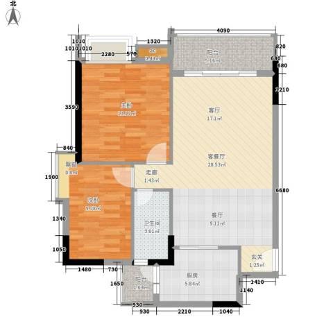 唐园假日新城2室1厅1卫1厨91.00㎡户型图