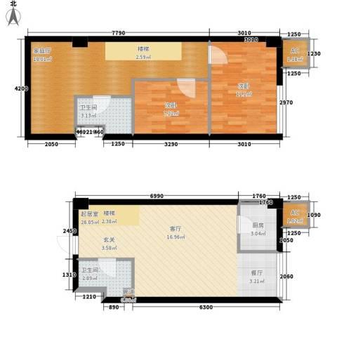 橙仕空间2室0厅2卫1厨73.70㎡户型图