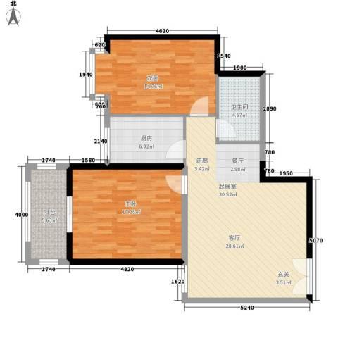 曲江澜山2室0厅1卫1厨88.00㎡户型图