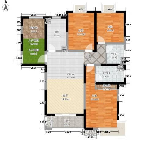 齐河德百玫瑰园3室1厅2卫1厨137.00㎡户型图