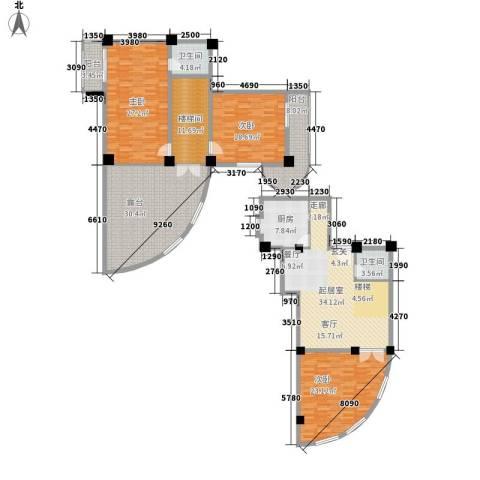 秋涛阁3室0厅2卫1厨193.46㎡户型图