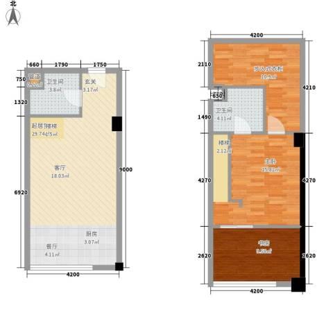 橙仕空间2室0厅2卫0厨74.17㎡户型图
