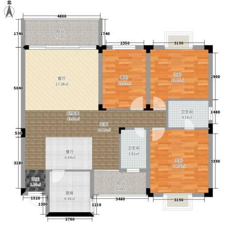 翡翠林居3室0厅2卫1厨138.00㎡户型图