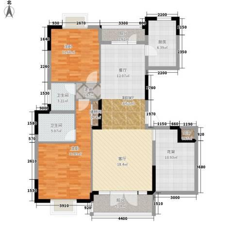 盛地沃尔玛广场2室1厅2卫1厨123.00㎡户型图