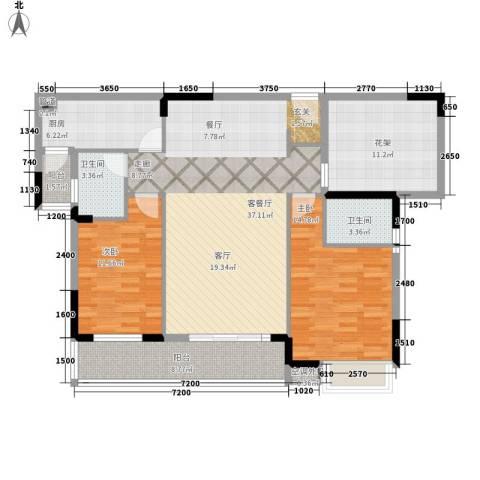 盛地沃尔玛广场2室1厅2卫1厨108.00㎡户型图