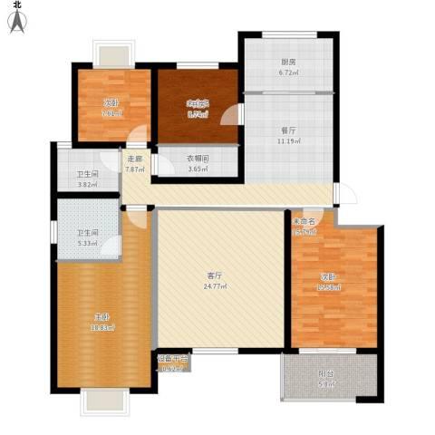 万达高尔夫花园2室1厅2卫1厨144.00㎡户型图