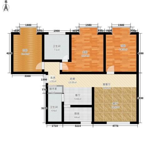 百花明珠3室1厅2卫1厨138.00㎡户型图